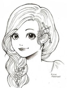 Rapunzel- Tangled by O-cha-ra @ deviantART Girl Drawing Sketches, Girly Drawings, Art Drawings Sketches Simple, Pencil Art Drawings, Girl Drawing Images, Colouring Pages, Adult Coloring Pages, Coloring Books, Frozen Coloring Sheets