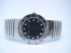 BVLGARI Tubogas Stainless Steel Ladies Diamonds Dial adjustable Watch Quartz