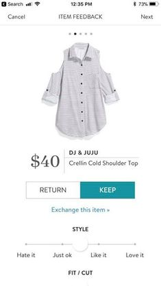 This would be a neat option for work. It looks like a traditional button down, but with a cool shoulder cut out. Unexpected and pretty cool. I like it.