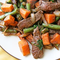 Quick and easy beef and sweet potato stir-fry - unique flavors combine to make a delicious healthy meal!