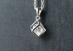 Silver Cube And Cubic Zirconia Gem Necklace by paperfacestudio on Etsy