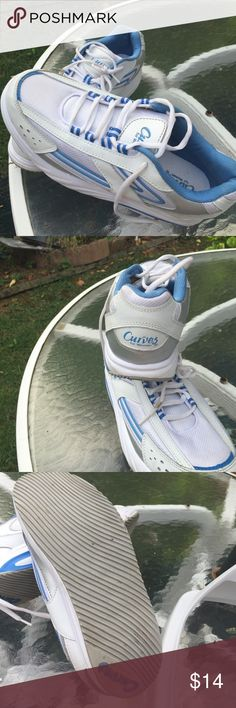 Curves Shoes For Women size 10 pointer This is a pair of Curves for women walking shoes very light, and in excellent condition. The color is blue and white. Clean by wiping with a damp cloth. Nice shoes. Curves For Women Shoes Athletic Shoes
