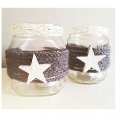 Glazen potje versieren. Koord zelf haken van leuk kleurtje wol.