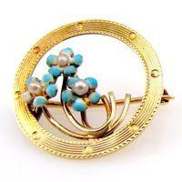Vintage Art Deco Pearl & Enamel Forget Me Not Estate Pin/Brooch 14K Gold | FJ AX