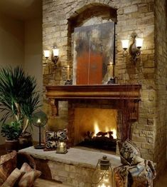 All Time Best Tips: Fireplace And Tv Wall fireplace and mantels chairs.Fireplace Art Beautiful fireplace and tv wall.Fireplace And Mantels Chairs. Fireplace Mantle Designs, Brick Fireplace Mantles, Home Fireplace, Stone Fireplaces, Wood Mantle, Simple Fireplace, Fireplace Seating, Fireplace Cover, Fireplace Outdoor