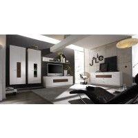 Wohnwand mit Sideboard weiss hochglanz/ Eiche vintage massiv Woody 93-00373