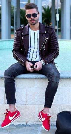 Denim with Red Sneakers And Leather Jacket