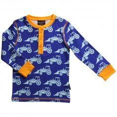 Shirt with placket, excavator blue, Maxomorra