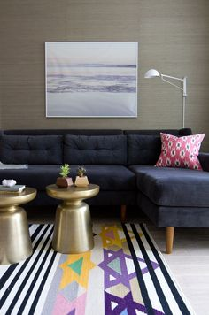 7 Secrets For An Instagram-Worthy Home #refinery29  http://www.refinery29.com/how-to-take-instagram-decor-photos#slide-2  Include Some Floor SpaceHighlight a specific item by shooting a large portion of a rug or carpet in front. It'll create a dramatic set up, like the colorful carpet does here for the gold side tables.