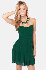 TFNC Elida Strapless Hunter Green Dress