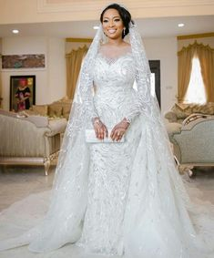 see fateema ganduje's gorgeous wedding gown (photos) - latest Beautiful Wedding Gowns, Elegant Wedding Dress, Dream Wedding Dresses, Bridal Dresses, Beautiful Dresses, Couture Dresses, Gown Wedding, Wedding Ceremony, Beaded Dresses