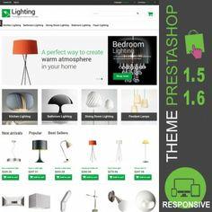 Thème PrestaShop 1.5 et 1.6 pour site marchand dédié à la vente d'éclairage intérieur : cuisine, salle de bains, salle à manger, chambre à coucher…