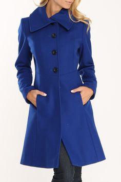 Nicole Miller Fit & Flare Envelope Collar Coat In Cobalt @Pascale Lemay De Groof