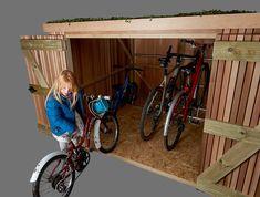 Slot-in Bike Shed - Brighton Bike Sheds Bike Storage In Shed, Garden Bike Storage, Bicycle Storage, Bike Shed, Outdoor Storage, Craftsman House Plans, Modern House Plans, Small House Plans, Diy Bike Rack