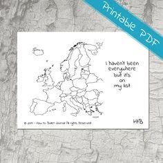 Map of Europe Planner Stickers  - Printable door HowtoBulletJournal op Etsy