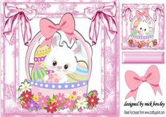 How cute am I white easter bunny in basket 8x8 on Craftsuprint - Add To Basket!