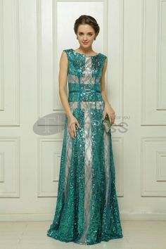 Sequin Embroidery Malay green satin evening dress