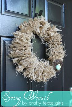 Burlap wreath using only a hanger and fabric