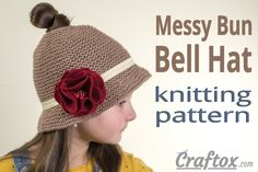 "Messy bun ""Bell"" hat. Free knitting pattern. Let me offer you this messy bun hat, also known as pony tail (ponytail) hat. #Messy #bun #bell #hat #free #knitting #pattern #pony #tail #ponytail"