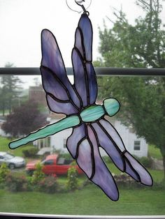 Dragonfly Stained Glass Suncatcher. $35.00, via Etsy. #StainedGlassDragonfly #StainedGlassFairy