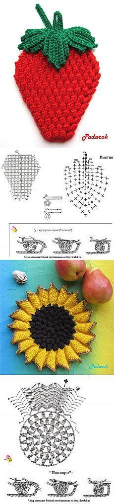 Red n white stawberry crochet applique Crochet Diagram, Crochet Chart, Crochet Motif, Crochet Designs, Crochet Doilies, Crochet Flowers, Crochet Patterns, Crochet Kitchen, Crochet Home