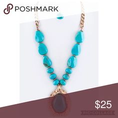 ✨HP✨{The Betty } Pebble Necklace Set Pebble Stone Pendant Necklace Set Available in Turquoise only Necklace is approximately 21 inches + ext Earrings are approximately 1 inches long Lead and Nickel Compliant faith & sparkle Jewelry Necklaces
