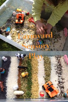 Farmyard sensory play using whatever grains, seeds and bits we could find : ) This one has rice, pumpkin seeds, poppy seeds, oats, tiny pasta shells, coffee granules, grass and stones. Throw in some farm animals and a tractor (or quad bike in our case!) and play. Little lady enjoyed this outside in the sunshine so eventually most of it ended up being transported around the garden in buckets.  Adventures with Isla-Brae