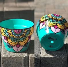 Turquoise Mandala Flower Pot, wide style flower pot, inspired in Mandalas, Zen and bohemian style decorations, look great with succulen and cactus plants, can be used as a candle holder, towel holder, candy holder, and many other creative ideas. Colors and mandala design can be