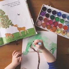 Painting her watercolor apple tree 🎨 She fell asleep at 2:30 yesterday + slept until dinner, so we didn't get to do tea or this project. I was so incredibly proud of her ability to follow instruction with this! This is the first time she has tried to actually paint something she sees. Before this I've always just let her free paint. I explained to her that she was going to make an apple tree and then pointed to the leaves and trunk. I asked her what they were and what colors she saw. Then…