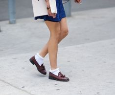 Frilly socks with loafers