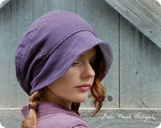 Brimmed Slouch Beanie Hat Purple Recycled T shirt Hat. $40.00, via Etsy.