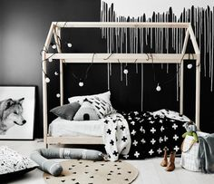 Monochrome kids bedroom with dramatic wall from Norsu Interiors