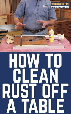 Learn Woodworking George Vondriska demonstrates the best way to remove rust from a cast-iron tool table. A WoodWorkers Guild of America (WWGOA) original video. - George Vondriska teaches you the best way to clean a rusty cast-iron woodworking tool table. Woodworking School, Woodworking For Kids, Woodworking Logo, Woodworking Patterns, Woodworking Workbench, Woodworking Techniques, Popular Woodworking, Woodworking Crafts, Woodworking Furniture