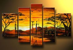 cuadros-tripticos-al-oleo-bodegones-paisajes-abstractos-africanas-tainos Multi Canvas Painting, Canvas Art, Pictures To Paint, Art Pictures, Triptych Wall Art, African Art Paintings, Lion King Art, Africa Art, African American Art
