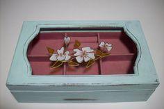 Shabby Mint Jewelry Box/ Vintage Wood by UpcycledCottageDecor