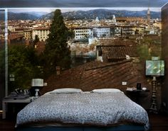 Abelard Morell, View of Florence looking northwest inside bedroom (2009), Italy