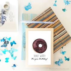 Donut Worry Birthday Card / Donut Birthday Card by BlackEnBlanche