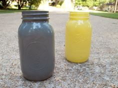 For whatever room you said was going to be gray and yellow! Gray or Yellow Quart size Mason Jars (etsy). Total plant shelve worthy for my grey and yellow kitchen with some wild flowers or something out the top Lemon Kitchen, Kitchen Redo, Home Decor Kitchen, Kitchen Interior, New Kitchen, Kitchen Remodel, Kitchen Ideas, Grey Yellow Kitchen, Yellow Kitchen Accessories