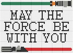 Ponto Cruz Star Wars - My the force be with you Star Wars Crochet, Crochet Stars, Crochet Cross, Diy Crochet, Star Wars Quilt, Wall E, Cross Stitch Designs, Cross Stitch Patterns, Cross Stitching
