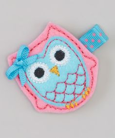 Look what I found on #zulily! Pink & Blue Felt Owl Hair Clip #zulilyfinds