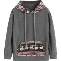 Graphic Christmas Kangaroo Pocket Hoodie ($30) ❤ liked on Polyvore featuring tops, hoodies, hoodie top, gray hoodie, kangaroo pocket hoodie, hooded sweatshirt and gray top