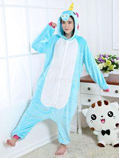 34e09d7f7 Kigurumi Pajama Unicorn Onesie Light Sky Blue Flannel Animal Sleepwear With  Zipper Back