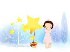 Kim Jong Bok : Sweet Childhood Lovely Girl - Winter Fairy - Sweet Little Girl Cartoon Illustration 18 Korean Illustration, Cute Illustration, Little Girl Cartoon, Little Girls, Cartoon Wallpaper, Winter Drawings, Cartoon Photo, Winter Fairy, Nursery Art