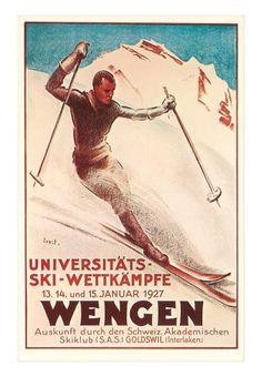 Wengen Ski Poster Vintage