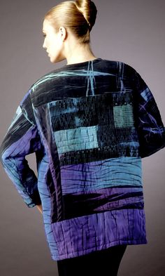 Pieced and Quilted Blues Shibori overlap jacket