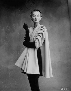 Lisa Fonssagrives-Penn wearing a mantel coat by Cristobal Balenciaga