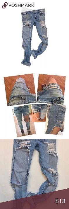 Ann Taylor Loft Women's Jeans Destroyed boyfriend Ann taylor Denim Jeans totally destroyed distressed denim with a boyfriend cut. Check out pics for measurements. Ann Taylor Jeans Boyfriend