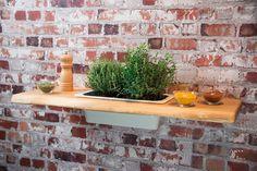 Pflanzregal Nr6 Eiche Massivholz 75 cm  Wandregal Regal Blumenregal mit Einsatz aus Porzellan #heimgruen