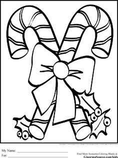 christmas coloring pages for kids candy canes - Candy Cane Coloring Pages Print