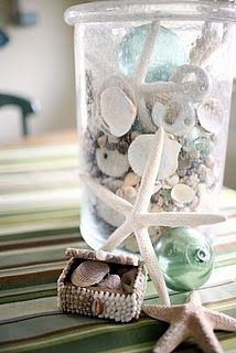 I have a lot of nautical touches through out the house... love starfish & seashells.